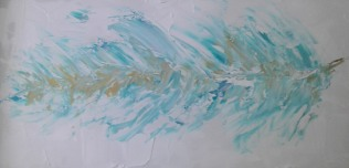 feather painting teal