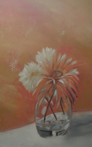 orange background flower vase
