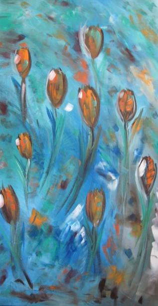 tealorange flowers